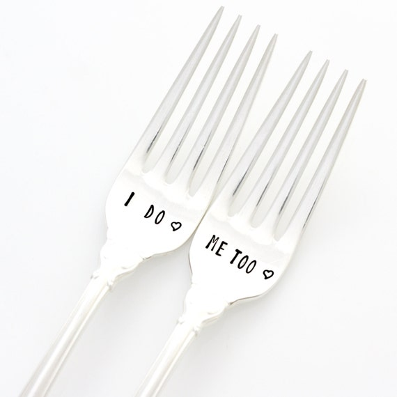 Wedding Forks, I Do Me Too silverware. Vintage hand stamped flatware by Milk & Honey