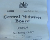 1906 Edwardian Central Midwives Board Certificate to Ellen Johnson - Midwife in England