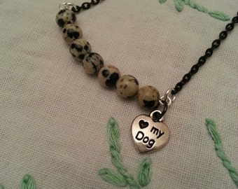 Dalmatian Jasper Curved Horizontal Bar Charm Necklace, Gemstone Necklace, Dog Lovers Jewelry, Layering Necklace, Minimalist Jewelry
