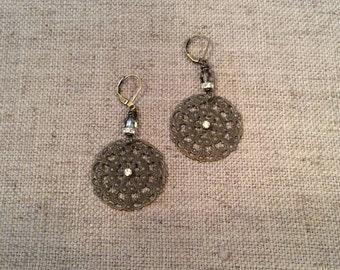 Brass filigree earrings with Swarovski crystals