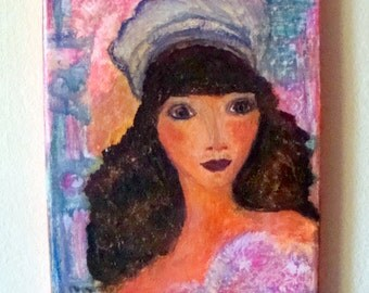 "Girl with pink flowers,Original acrilic painting on 6"" x 9"" Canvas,Home decor/ Gift ideas,Free shipping"
