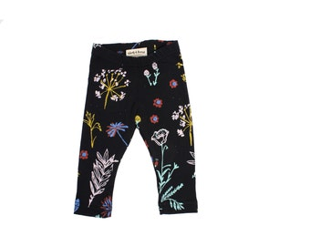 Organic Leggings in Pale Pink, Ochre, Mint Green, Bright Blue and Rust on Black 'Night Garden' Print