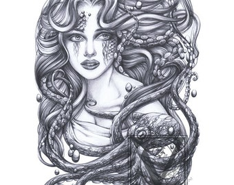 Mermaid and Her Octopus Art - Archival Giclée Print - Mermaid Tattoo Art - Mermaid Art