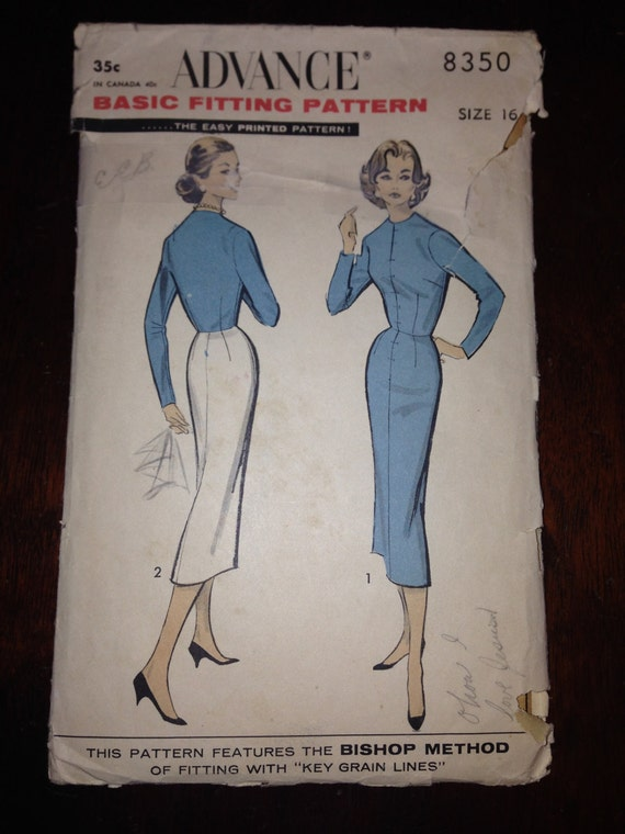 Vintage 50s Advance Sewing Pattern 8350 Misses Bodice and Skirt Size 16