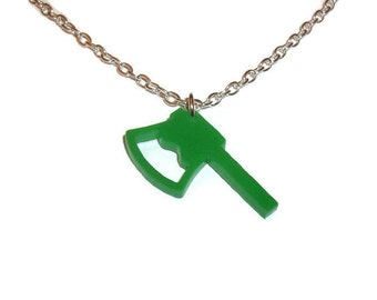 Green Axe Necklace, Weapon, Perspex Quirky Laser Cut Pendant