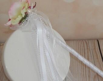 Flower Girl Wand-Blush Pink Peony Wand, Pink and White Princess Wand- Fairy Tale Wedding Wand- Ready To Ship