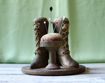 Antique Victorian Hand Carved Wooden Lace up Boot Sewing Pincushion