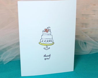 Set of 10 Stamped Wedding Thank You Cards Cake