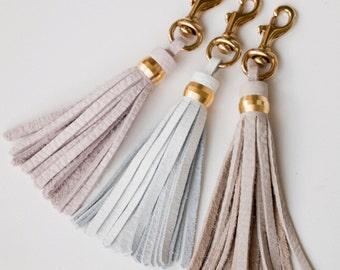Leather Clip on Tassel / Blush White Grey / Brass Keychain