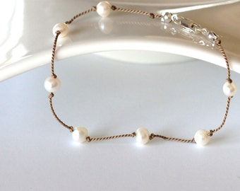 pearl bracelet | white pearl bracelet hand knotted on silk cord | tin cup pearl bracelet | sterling silver | handmade jewelry by girlthree