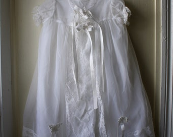 Vintage Christening Gown / Vintage Baptism Gown / 2 piece dress for newborn baby by The Little Sears