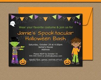 Boy Halloween Party Invitation - Printable Kids Halloween Invitation - Boy Halloween Birthday Invitation EDITABLE Kids Halloween Invite HCBK