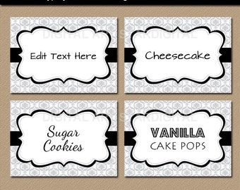 Instant Download Silver and Black Candy Buffet Labels - Printable Wedding Labels, Damask Labels, Food Labels, Buffet Cards, EDITABLE Labels