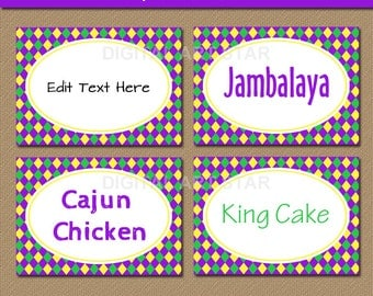 Printable Mardi Gras Food Labels - Mardi Gras Tent Cards - Mardi Gras Place Cards - EDITABLE Candy Buffet Labels - INSTANT DOWNLOAD