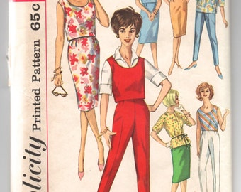 """1960's Simplicity Seven Days of Separates, Blouse, Skirt, Pants and Top Pattern - Bust 31.5"""" - No. 4401"""