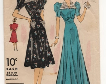 """1930's DuBarry One-Piece Day or Evening Gown - Bust 38"""" - UC/FF - No. 2208B"""