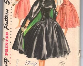 """1950's Simplicity Full-Skirt Drop Waist Dress and Coat pattern - Bust 32"""" - No. 1460"""