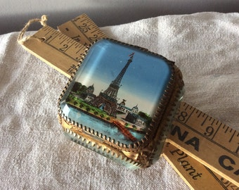 1 Victorian French Paris Eiffel Tower Beveled Glass Ormolu BOX, Naploleon III Eglomise