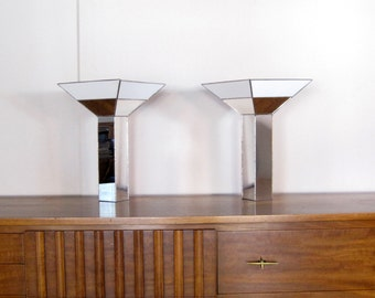 Mid Century Table Lamps - Mirror and Stained Glass