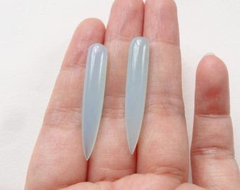 Pale Aqua Chalcedony Smooth Long Spike Icicle Drops 6x35 mm One pair K6722