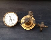 Antique Pressure Gauge - 50 psi Industrial Steel & Brass Gauge - R. Perlick Brass Co. - Milwaukee, Wis.