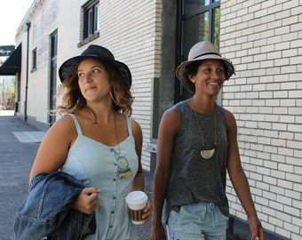 Women's Champagne Straw Wide Brim Fedora ~ Hepburn ~ summer hat, 1940s, Katharine ~ handmade by Bonnet, your local Portland millinery