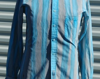 S Mens Blue and Grey Hand Painted Cotton Long Sleeve Shirt