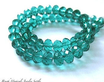 Sparkling Teal Turquoise Crystal Rondelle Beads 6mm x 5mm Faceted Aqua Blue Green Glass Beads - 25 Pieces
