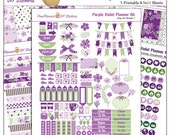 Planner Kit!  Purple Violet Printable Stickers / 5 Pdf Clip Art, Washi, HP & EC Boxes, 180 Icons/ Purple Green