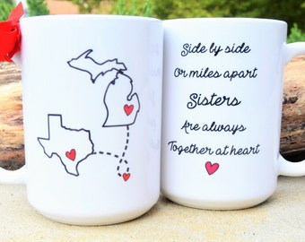 SISTERS State to State Long Distance Mug, Hearts & Quote