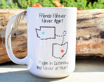 STATE to STATE Long Distance Mug - 2 States - Coral and Mint Hearts - Friends Forever Quote - Long Distance Relationship Gift Coffee Mug