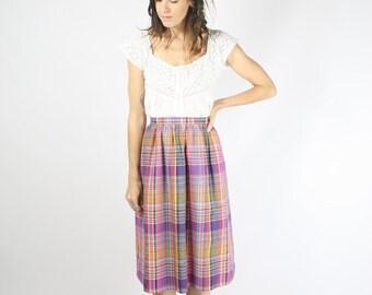 70s Plaid Skirt, Pink plaid High waist Skirt, XS