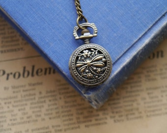 Antique Bronze Vintage Style Dragonfly Design Pocket Watch with Chain