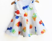 Rainbow Twirl Dress - Toddler Girls Dress - Jumper - Summer Outfit - Rainbow Colors - Baby Shower - Birthday Gift - Handmade in USA
