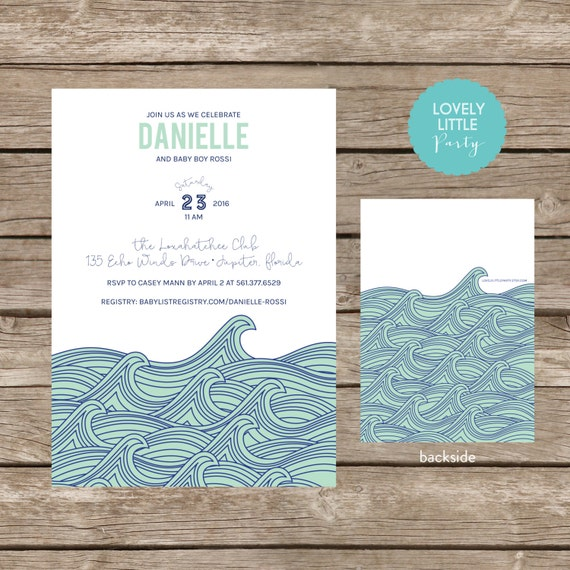 Modern Waves Boy Baby Shower Printable or Printed Invitation- Lovely Little Party
