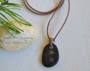 River stone -  unique zen necklace - natural jewelry - for him or her - organic