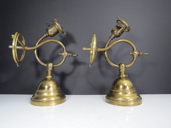 RESERVED Antique Brass Gas Lamps / Pair of Brass Wall Sconce