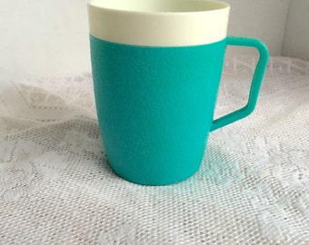 Vintage Plastic Aqua Blue and White Colored Insulated Cup / Melamine Coffee Mug by Arnoldware