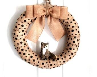 14-Inch Woodland Critter Wreath - Black Polka Dot Burlap Wreath - Rustic Burlap Wreath - Year Round Wreath - Everyday Wreath