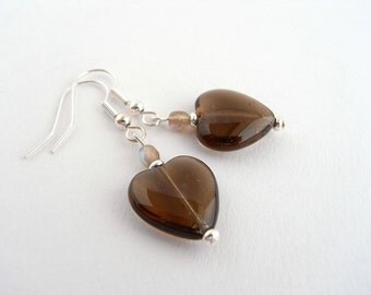 Heart drop earrings, Brown glass dangle earrings, Autumn / Fall jewellery, Romantic gifts for her, UK shop, E0040