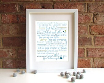 Over And Over Again - 8x10 inch lyric print - Nathan Sykes - First Dance - Wedding