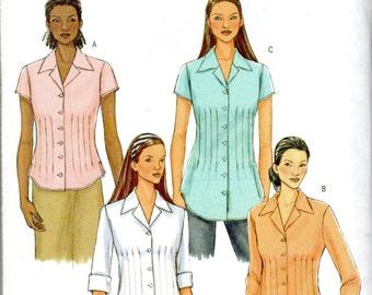 """Easy Women's Pleated Blouse Pattern - Size 8, 10, 12, 14, Bust 31 1/2"""", 32 1/2"""", 34"""" 36"""" - Butterick B4457 uncut"""