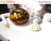 SALE Seashell Glass Paperweight, Tiger Cowrie Colors, Black Speckles over Deep Gold, Handmade in the US, Art Studio Glass, Beach Decor