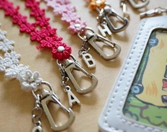 Feminine ID badge holder lanyard, lace lanyard, white lanyard, key lanyard, teacher lanyard, teacher gift