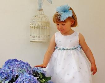 SALE flowergirl headband, powder blue butterfly headband, silk butterfly, lace butterfly hairpiece, butterfly hair accessories