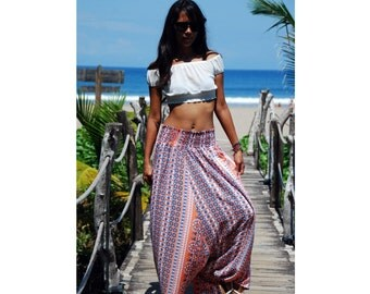 Harem Pants in Orange and Blue / Floral Maxi Skirt / Aladin Pants with Elastic Waist