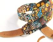 Retro Bubbles Ukulele Strap with Leather Ends