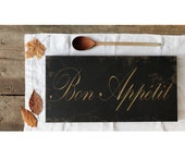 Bon Appetit, Canvas Art Gallery Wrap, Typography Sign, Kitchen Dining Wall Art, Restaurant Decor, Black, Gold & Copper, 10x20""
