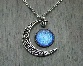 Aurora Moonlight - Color Shifting - Swirled Crescent Moon - Antique Silver Necklace
