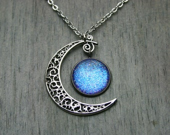 Aurora Moonlight - Color Shfting - Swirled Crescent Moon - Antique Silver Necklace